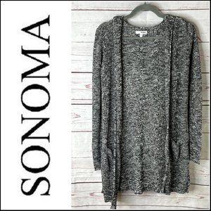 *3/$18*Sonoma Black & Gray Heathered Open Cardigan